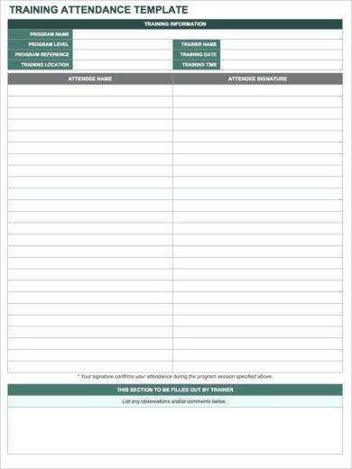 training attendance template1