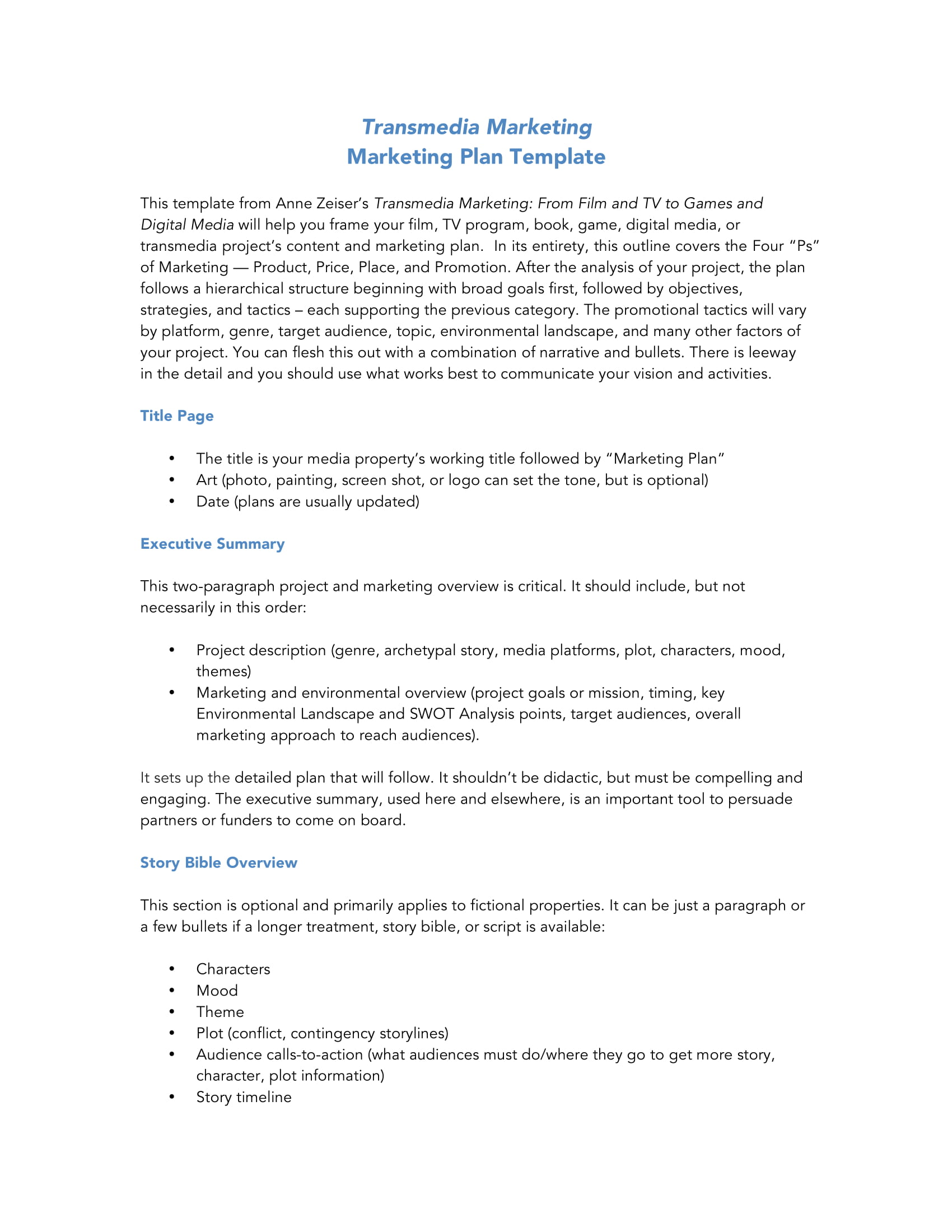 transmedia marketing plan and analysis for a business example 1