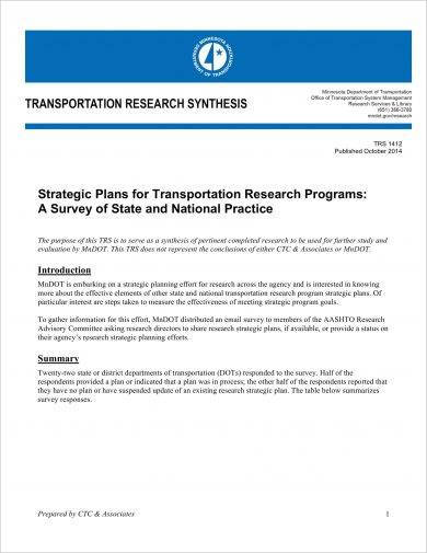 transportation research synthesis strategic plan example1