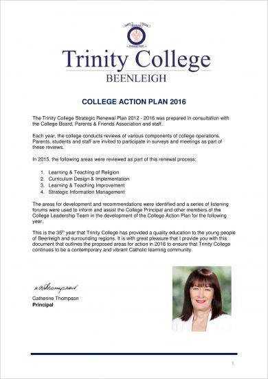 trinity college school action plan example1