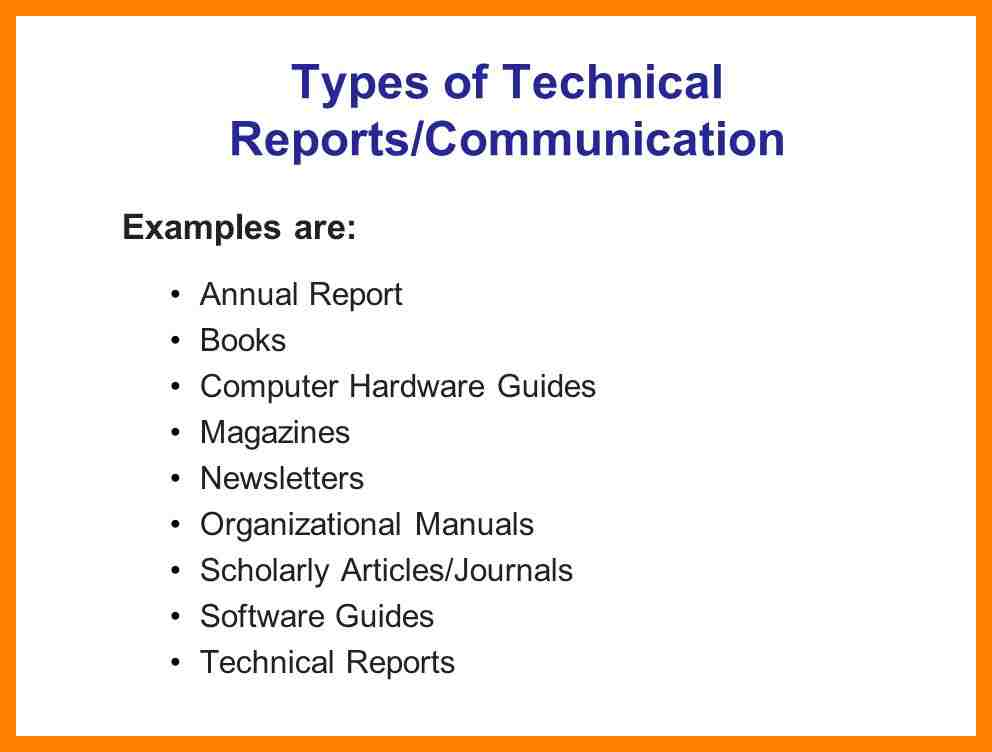 examples of technical writing Technical writing is considered a form of written communication that includes at least one of the following three items: (1) writing about a very specific and technical subject (eg the outcome of a heart surgery) (2) describing how to.