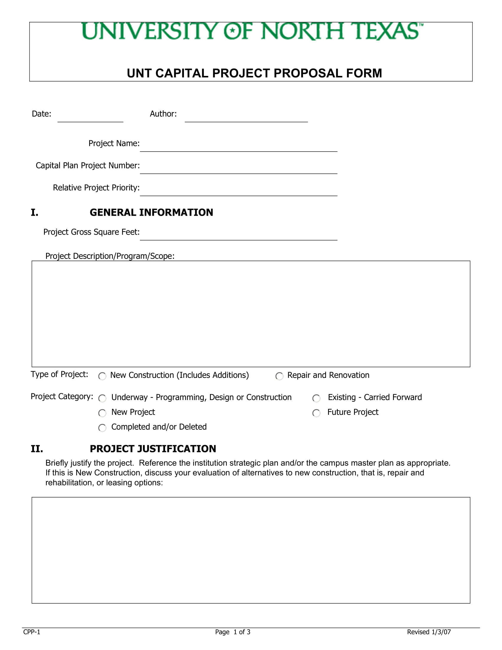 unt capital project proposal form example