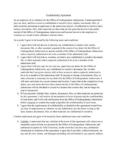 undergraduate admissions staff confidentiality agreement example