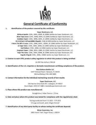 vapor stockroom general certificate of conformity example1