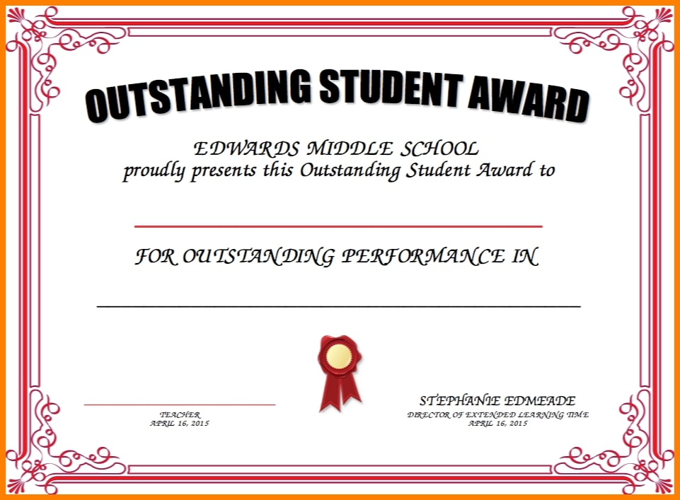 vintage border outstanding student certificate example