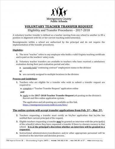 voluntary teacher transfer request letter example1