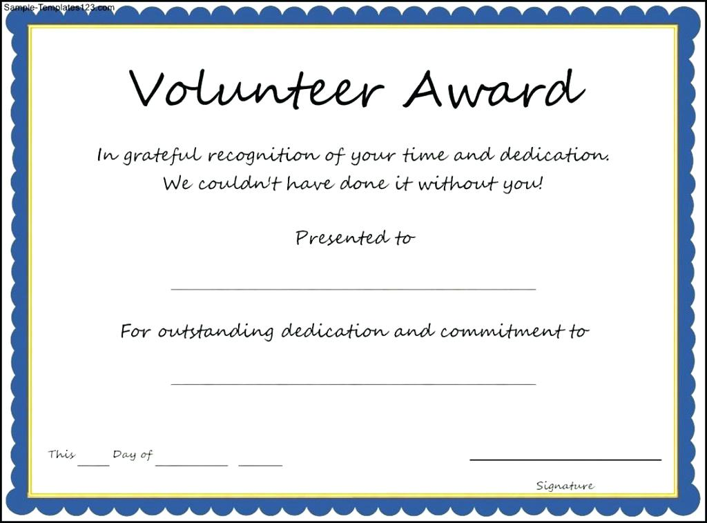 volunteer student award certificate example