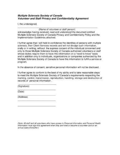 volunteer and staff privacy and confidentiality agreement example