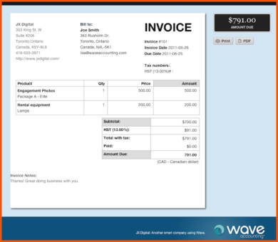 wave accounting photography invoice