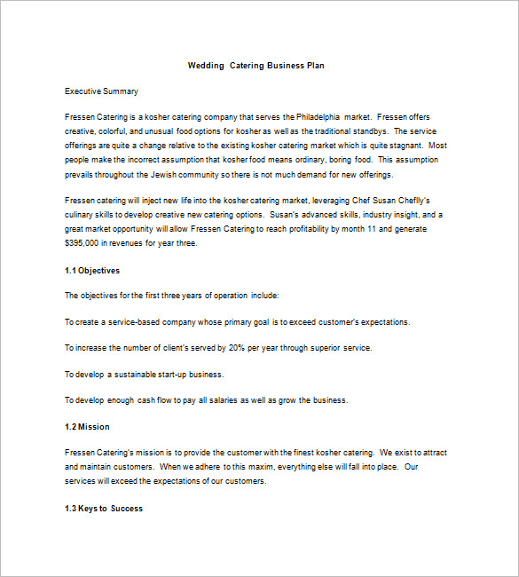 wedding catering company business plan example