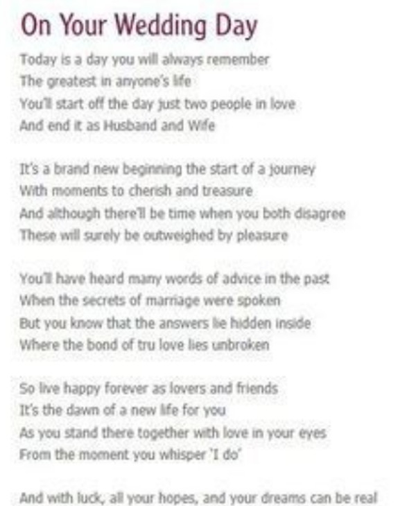 wedding day anonymous speech
