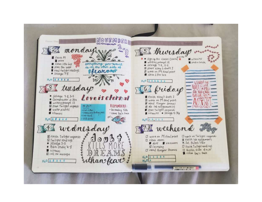 weekly bullet journal example