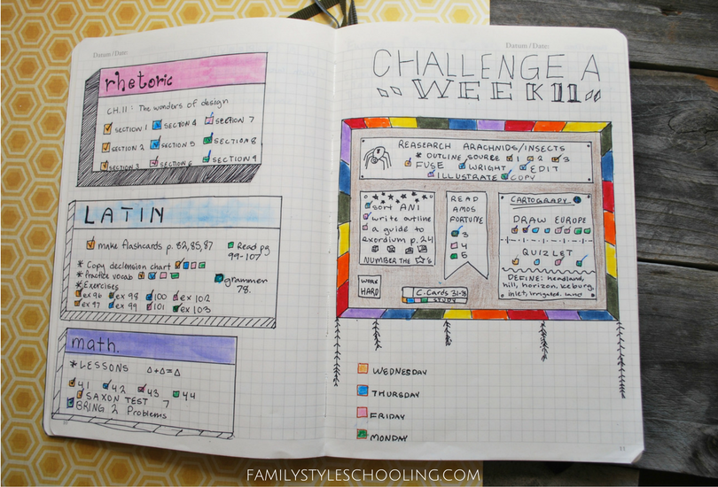 weekly challenge personalized journal example