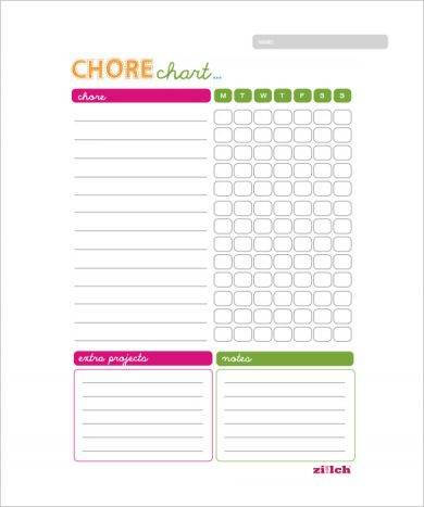weekly chore chart example for family1