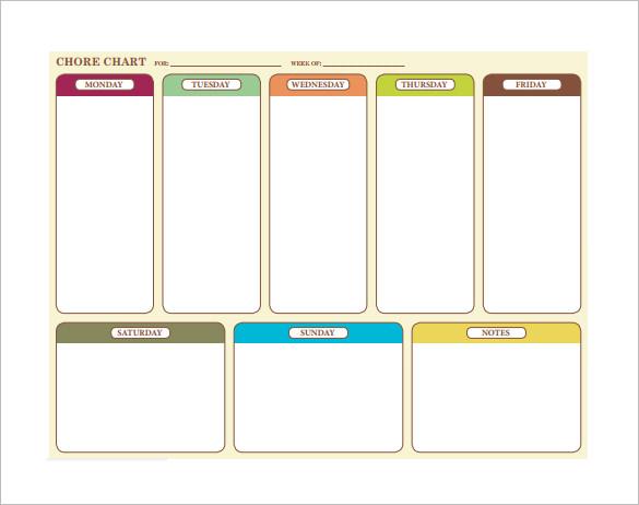 weekly chore chart example