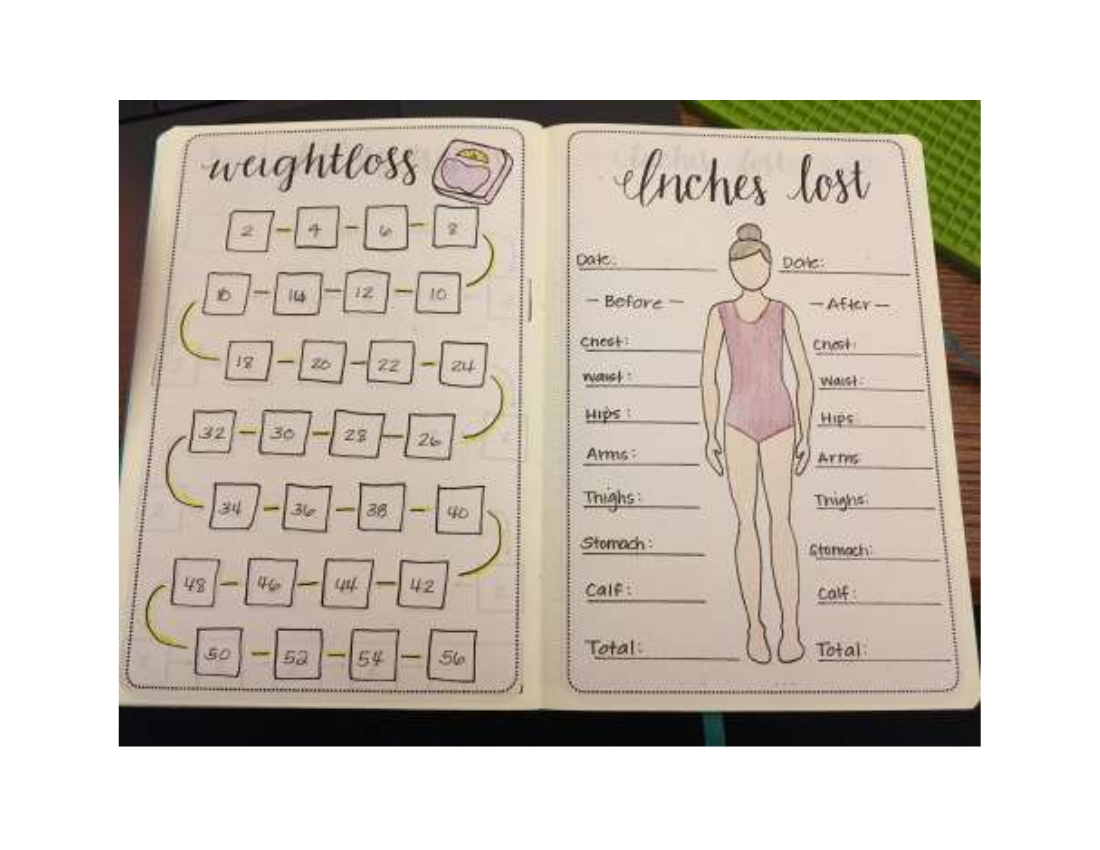 weightloss fitness journal example