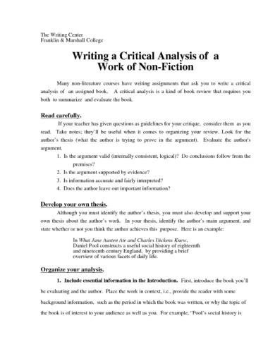 writing a critical analysis guidelines