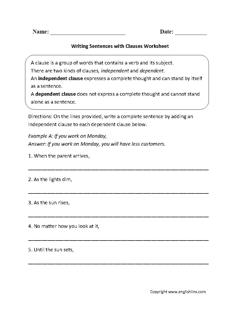Independent Clause Examples (with Worksheet Samples in PDF)