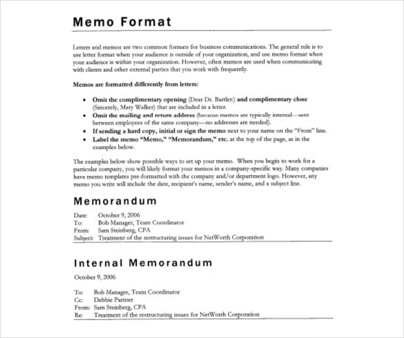 writing a memo format template example
