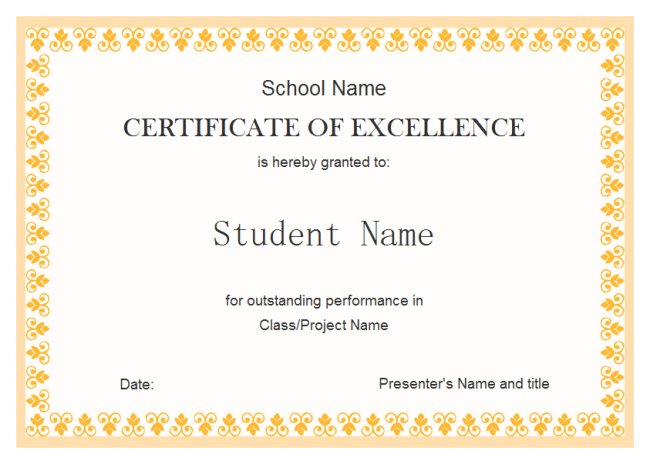 yellow border student award certificate example