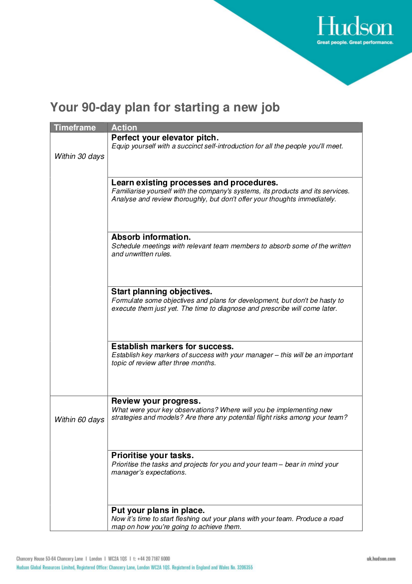 your 90 day plan for starting a new job