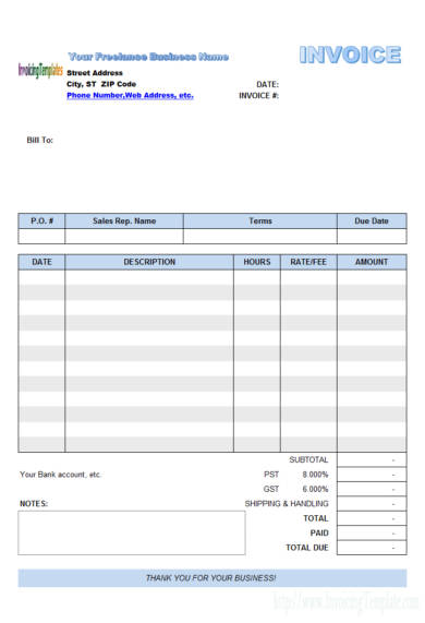 your freelance business name invoice