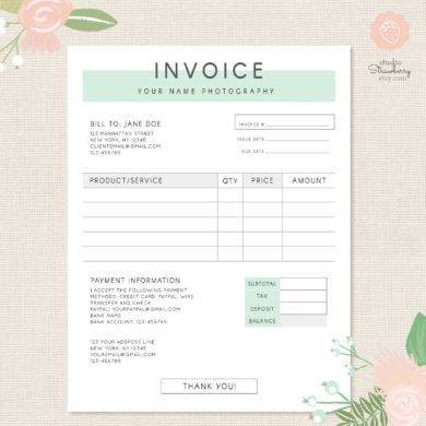 your name photography invoice example1
