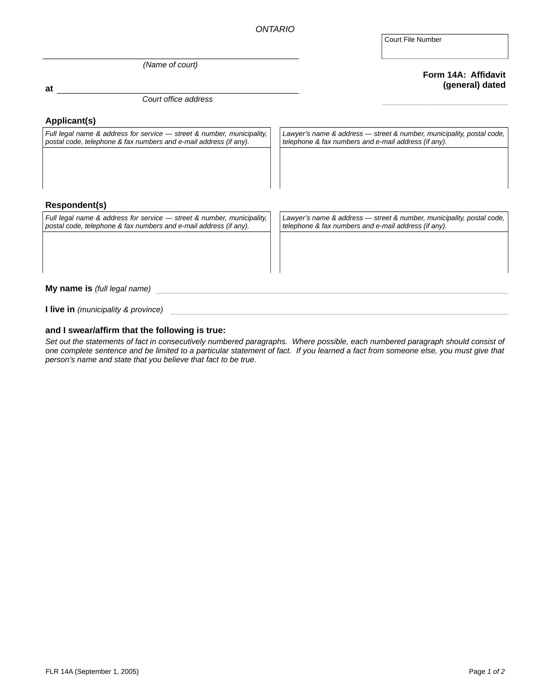 affidavit form general