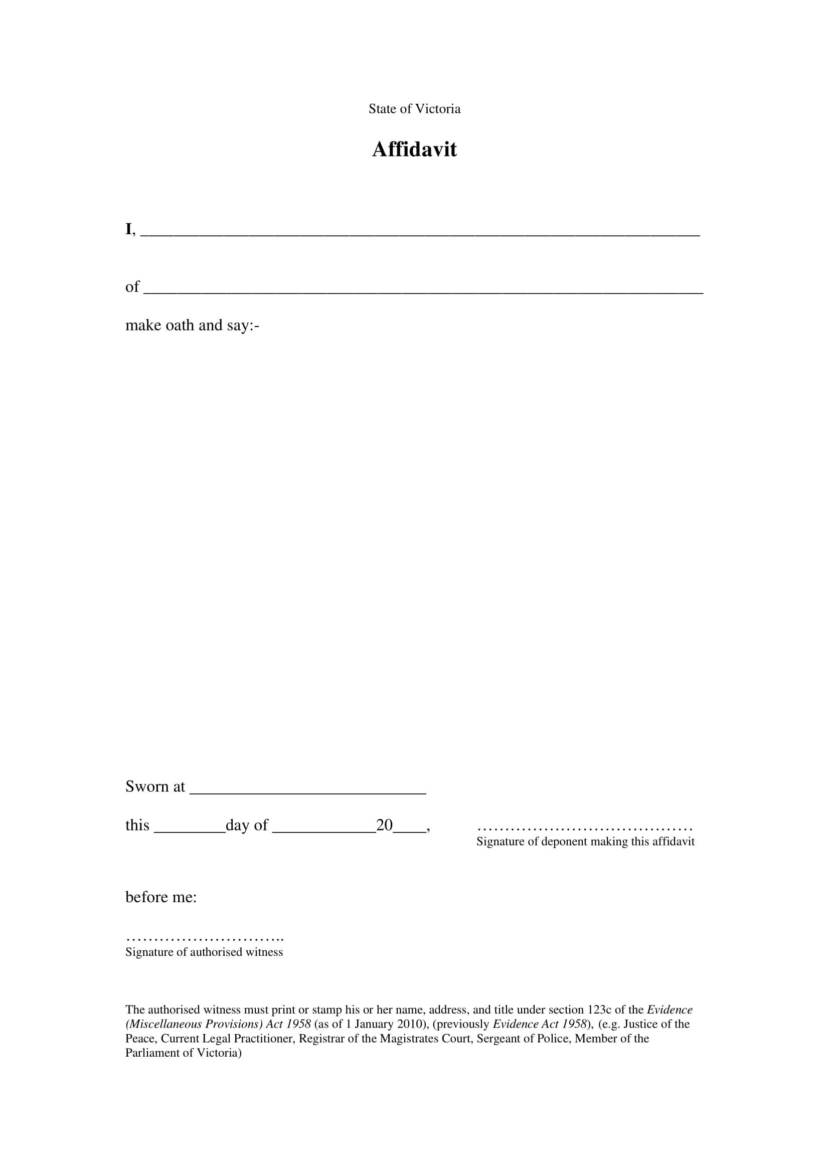 affidavit form sworn statement 2010