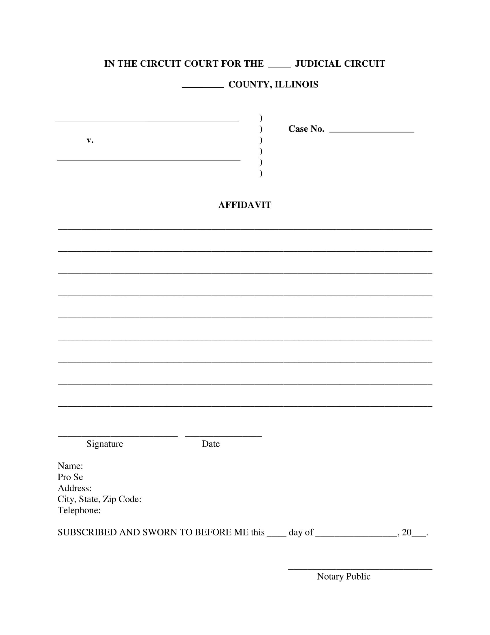 blank affidavit illinois