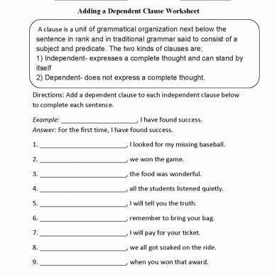 ding dependent clauses worksheet example