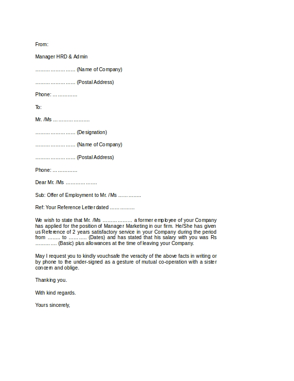 employment verification letter format doc