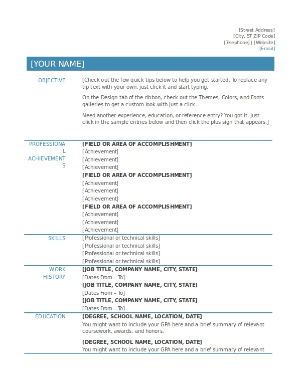 functional resume template example