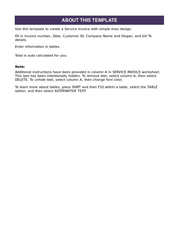 sheet invoice