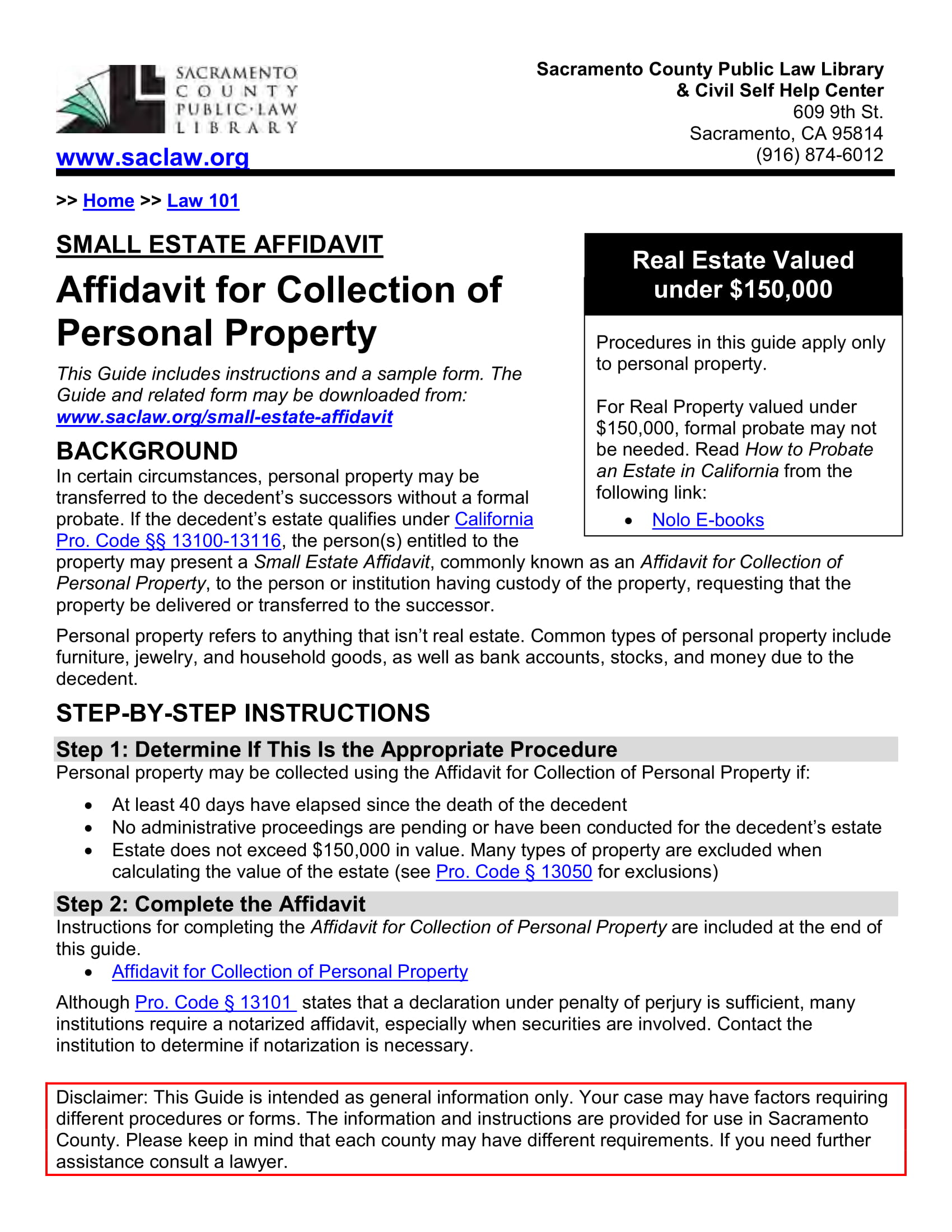 small estate affidavit sacramento
