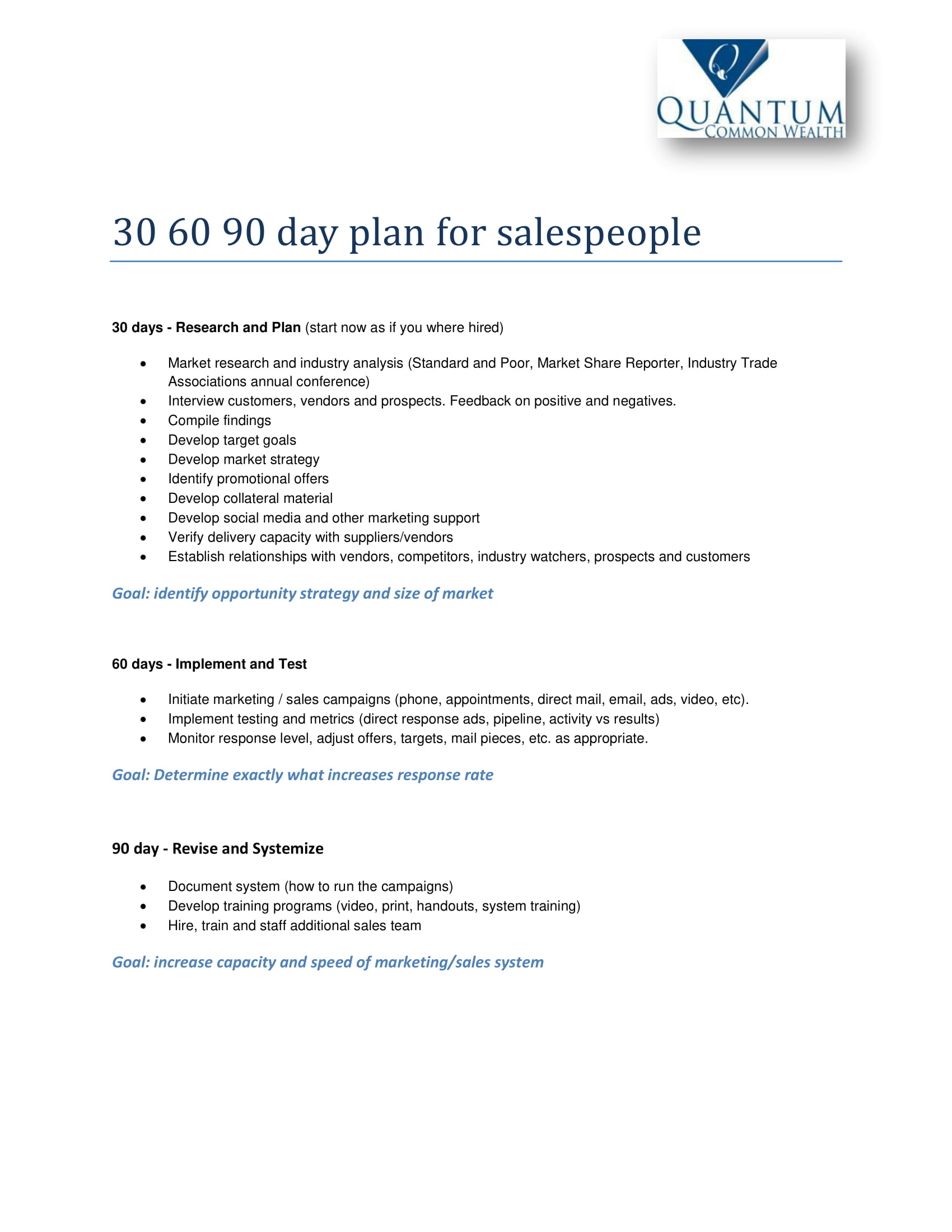 30 60 90 day concise sales plan example