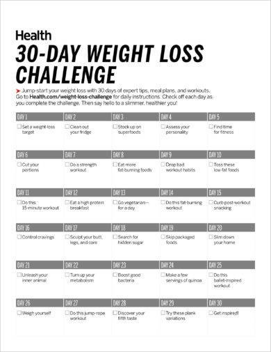 30 day workout weight loss plan example1