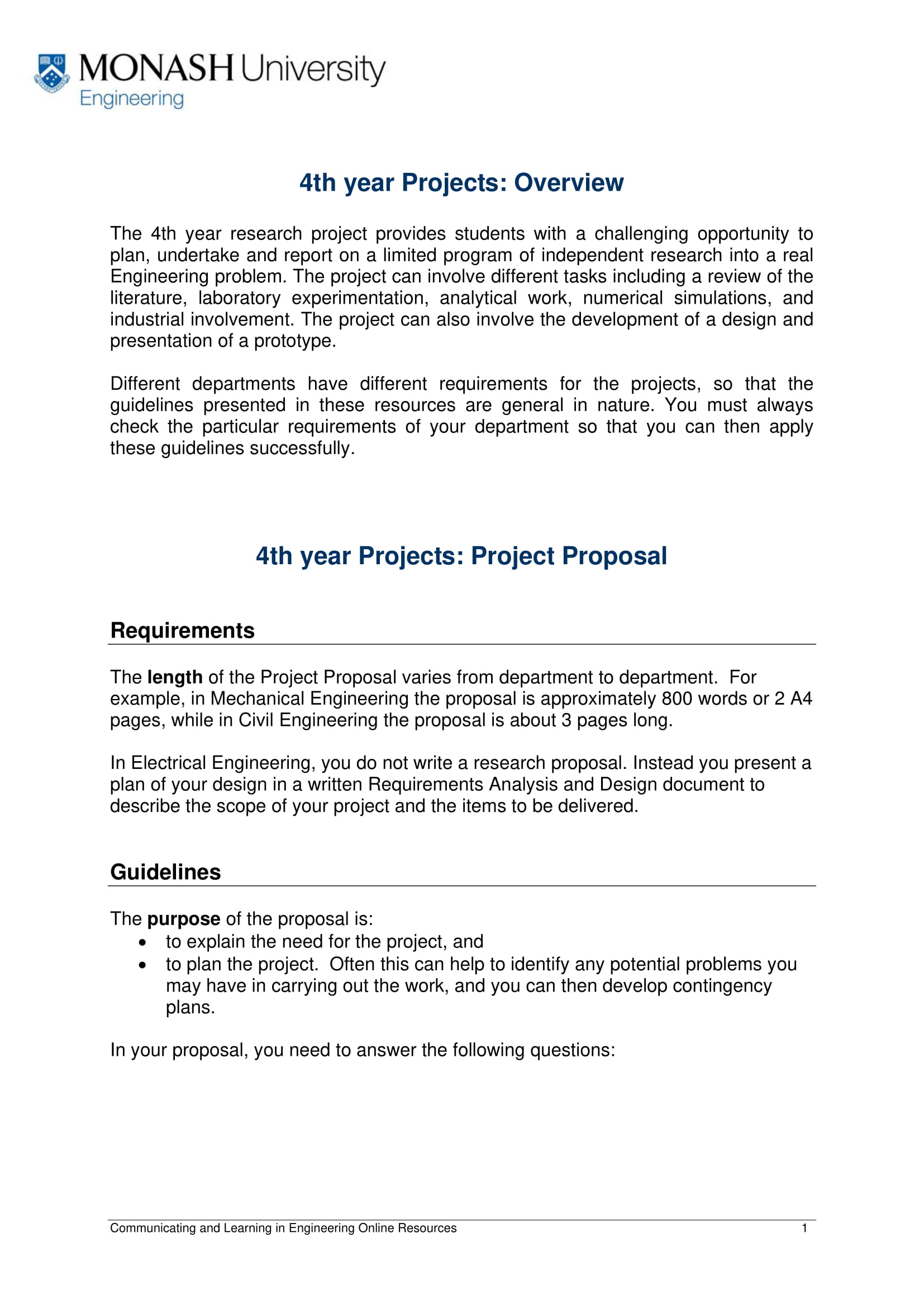 4th year project proposal overview example 1