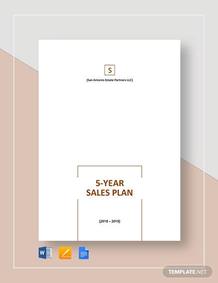 5 year sales plan template
