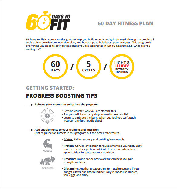 60 days to fit workout template