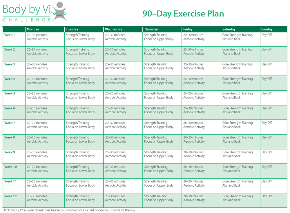 90 Day Exercise Plan Example