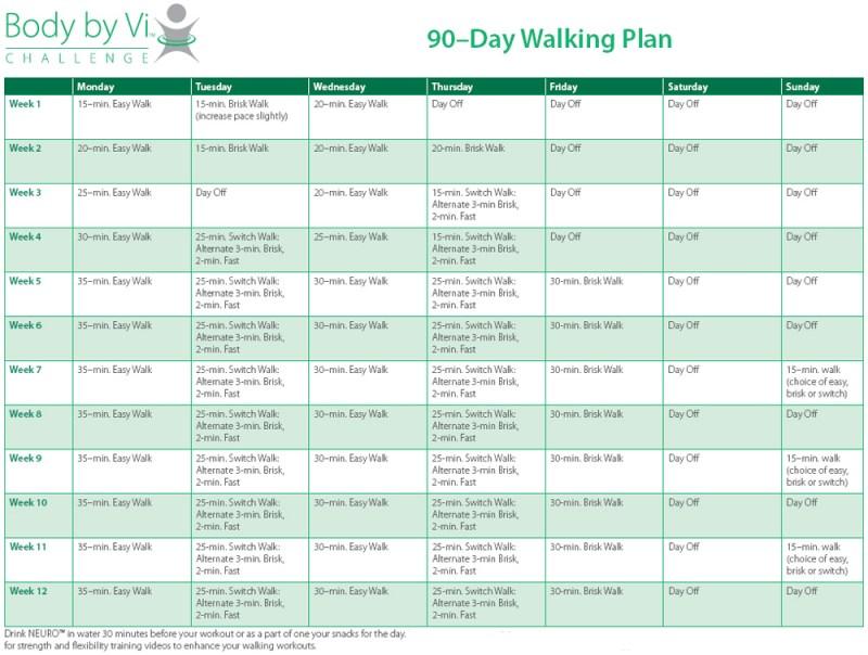 90 day walking plan example