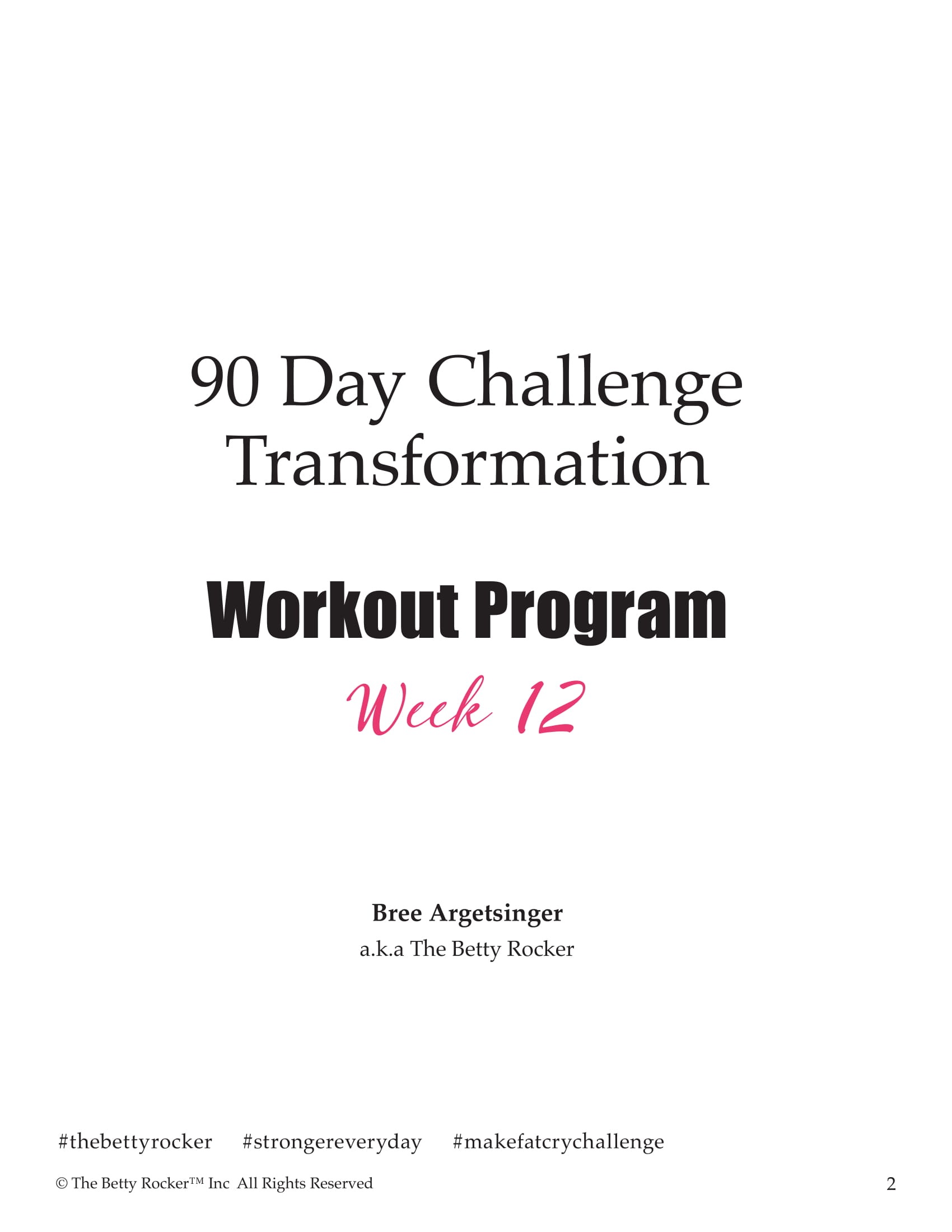 90 day workout challenge example