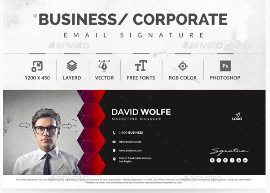 abstract marketing manager email signature example