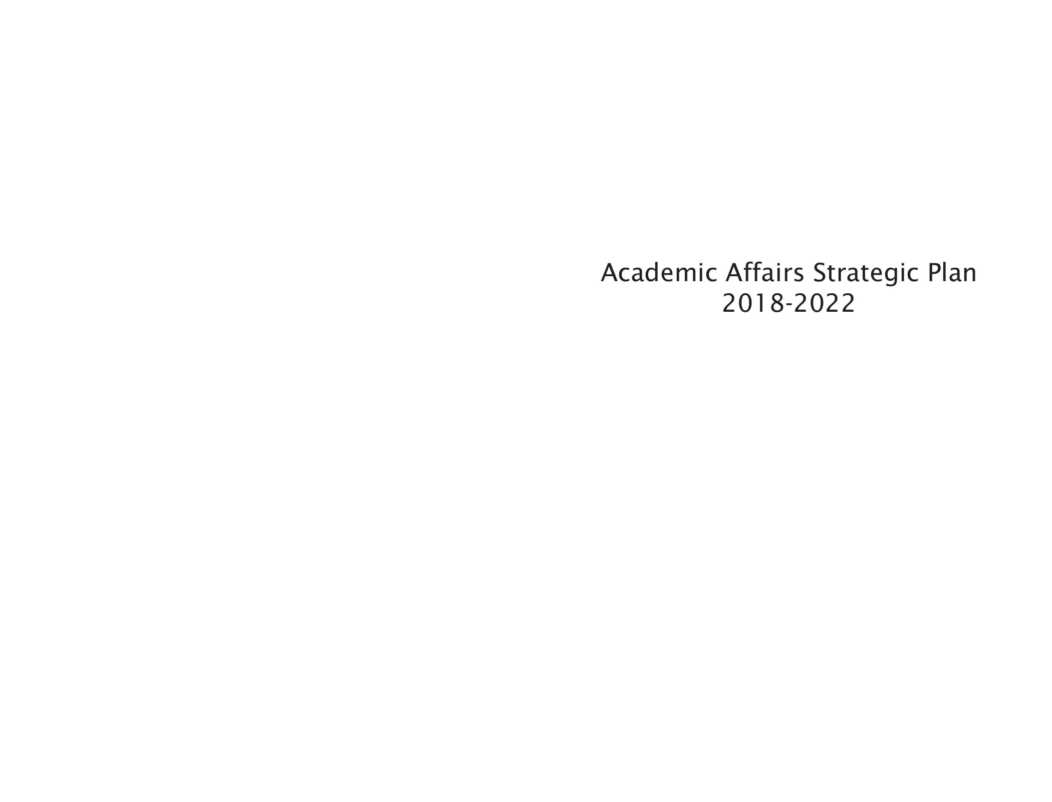 academic affairs strategic plan