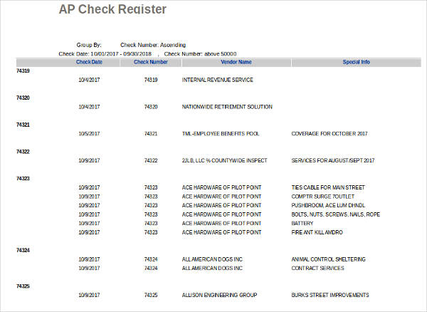 accounts payable check register example1
