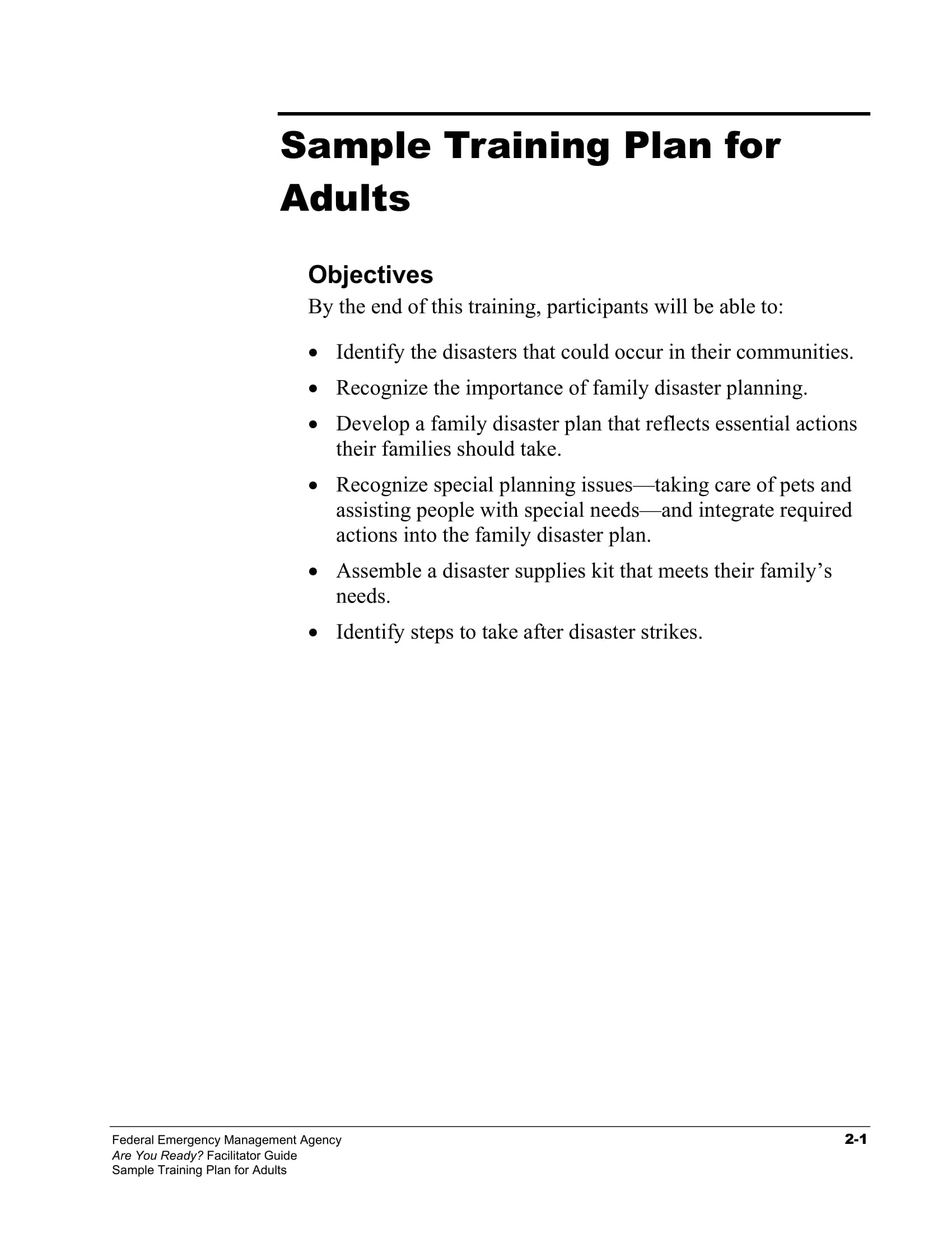 adult training project plan example 01