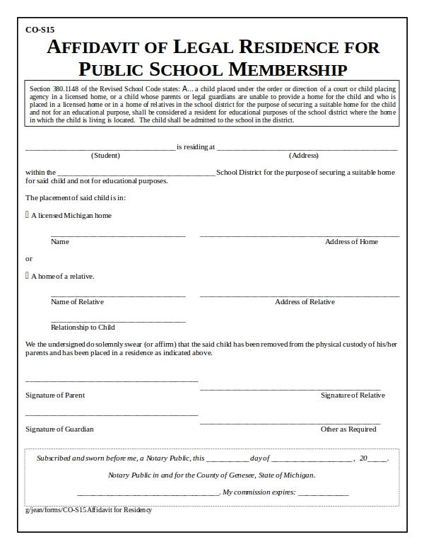 9 Affidavit Of Residence Form Examples Doc Pdf