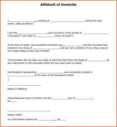 affidavit of domicile