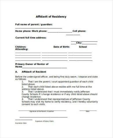 affidavit of residency sample